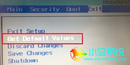 """选择""""get default values或Load Setup Defaults"""""""